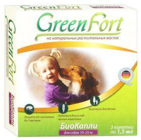 GreenFort БиоКапли от блох для собак 10-25кг.